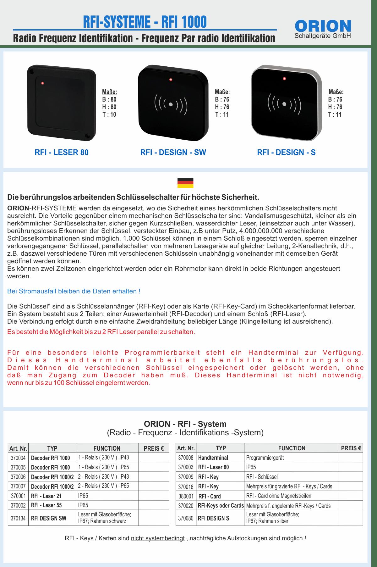RFI Systeme 1000 Glas