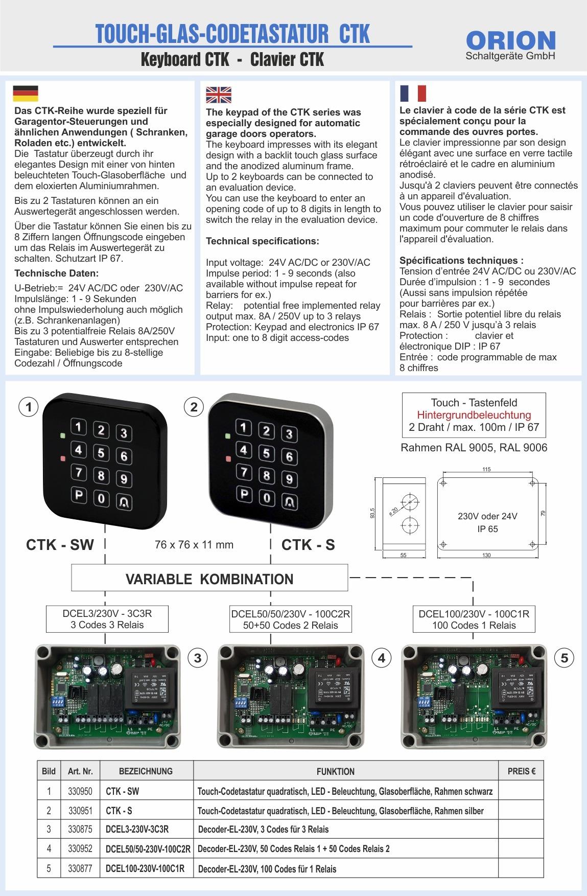 Touch-Codetaster Codetastatur Codeschloss